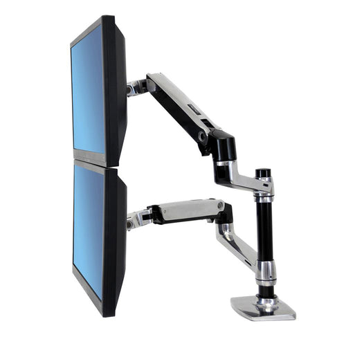 LX Series Clamp-On Stacking Dual Monitor Arms