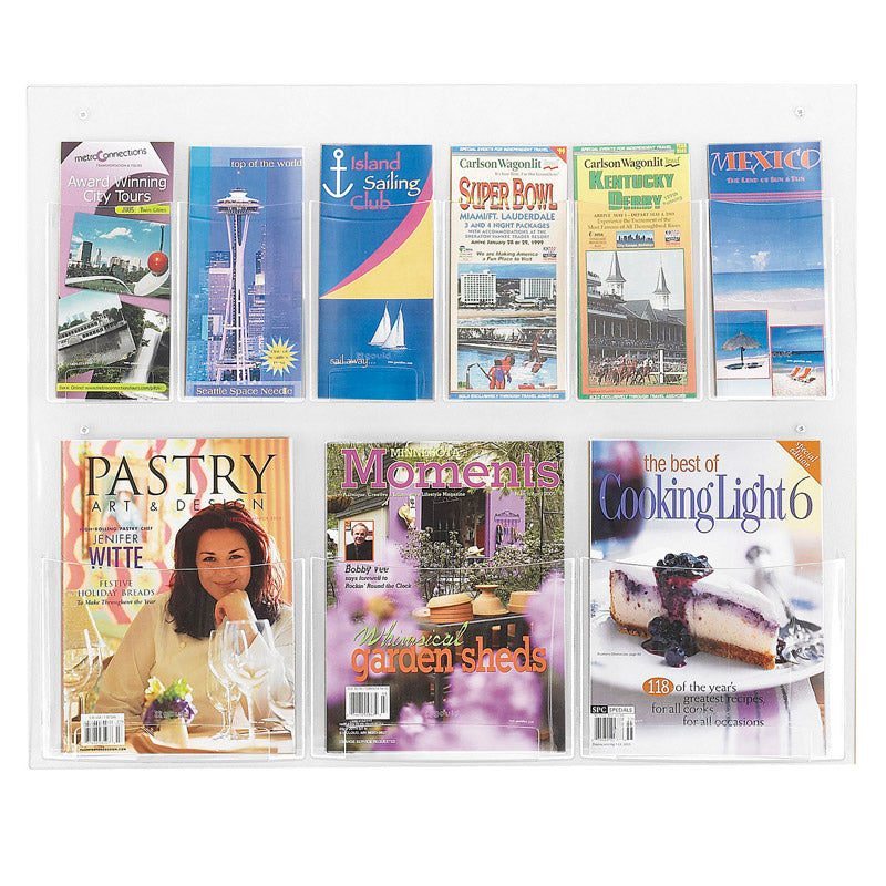 3 Magazine & 6 Pamphlet Acrylic Combination Wall Display