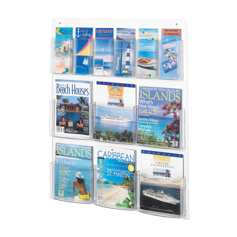 6 Magazine and 6 Pamphlet Acrylic Combination Wall Display