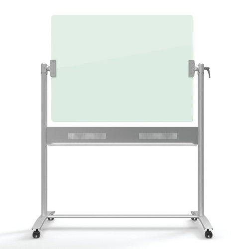 "Magnetic Glass Easel, 48"" x 36"" (board), White w/ Silver"