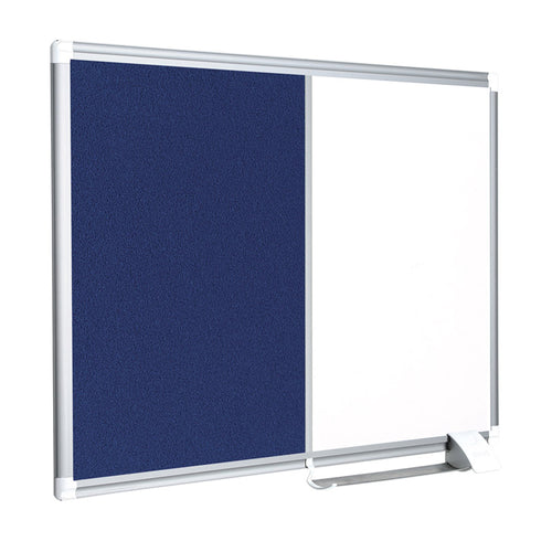 Magnetic Whiteboard & Felt Bulletin Combination Boards, Aluminum Frame
