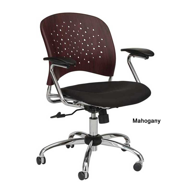 Manager Chair w/ Round Plastic Wood Back & Black Upholstered Seat