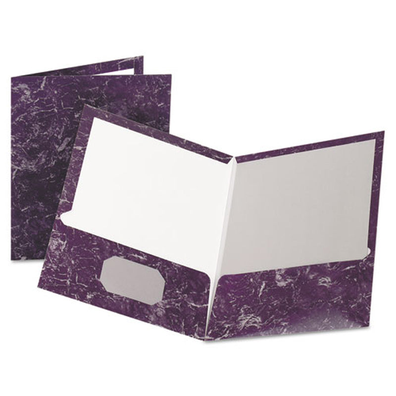 Marble Laminated Twin-Pocket Folders, Letter, Box of 25