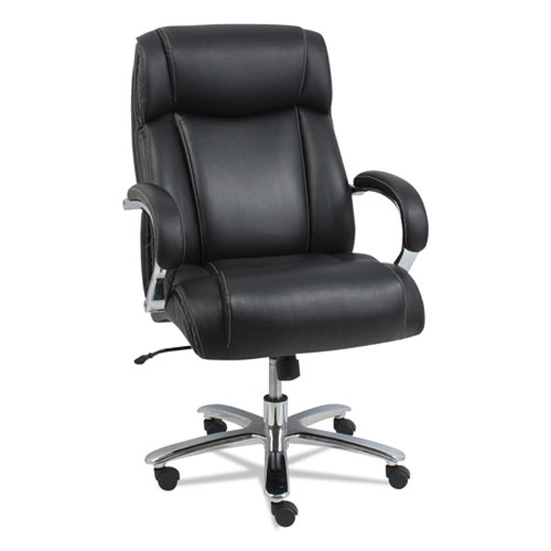Maxxis Big & Tall Leather Highback Chair w/ Coil Spring Cushioning, Black w/Chrome