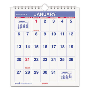 "Mini Monthly Wall Calendar, 6 1/2"" X 7 1/2"", White, 2021"