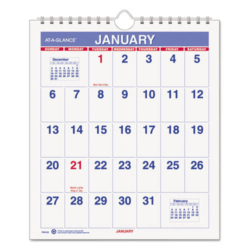 "Mini Monthly Wall Calendar, 6 1/2"" X 7 1/2"", White, 2020"