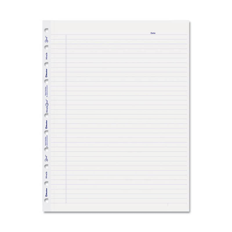 Miraclebind Notebook Ruled Paper Refill, 11 X 9-1/16, White, 50 Sheets/pack