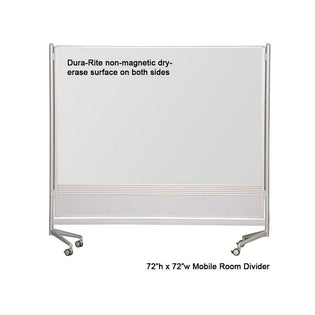 Mobile Dura-Rite (Non-Magnetic) Whiteboard Room Divider