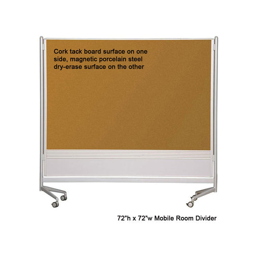 Mobile Porcelain Steel Magnetic Whiteboard AND Cork Room Divider