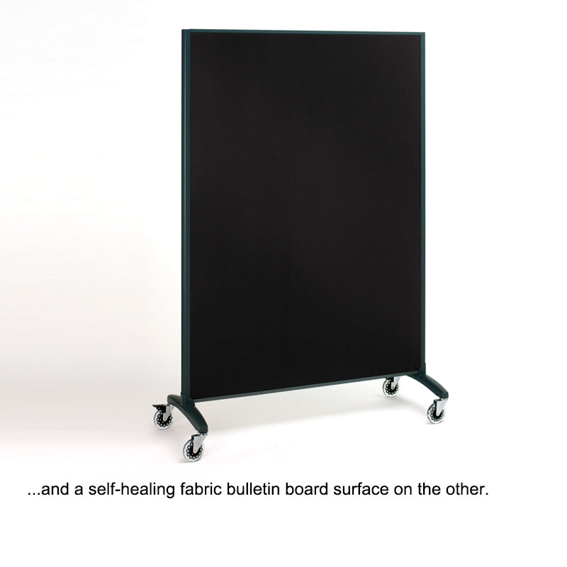 Mobile Porcelain Whiteboard/Fabric Bulletin Board Room Divider