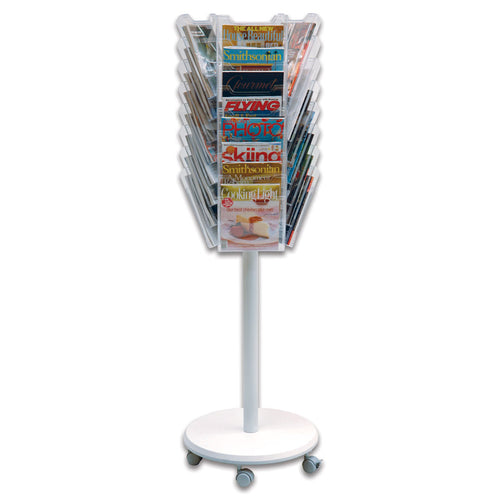 24-Pocket Mobile Revolving Literature Display, Clear