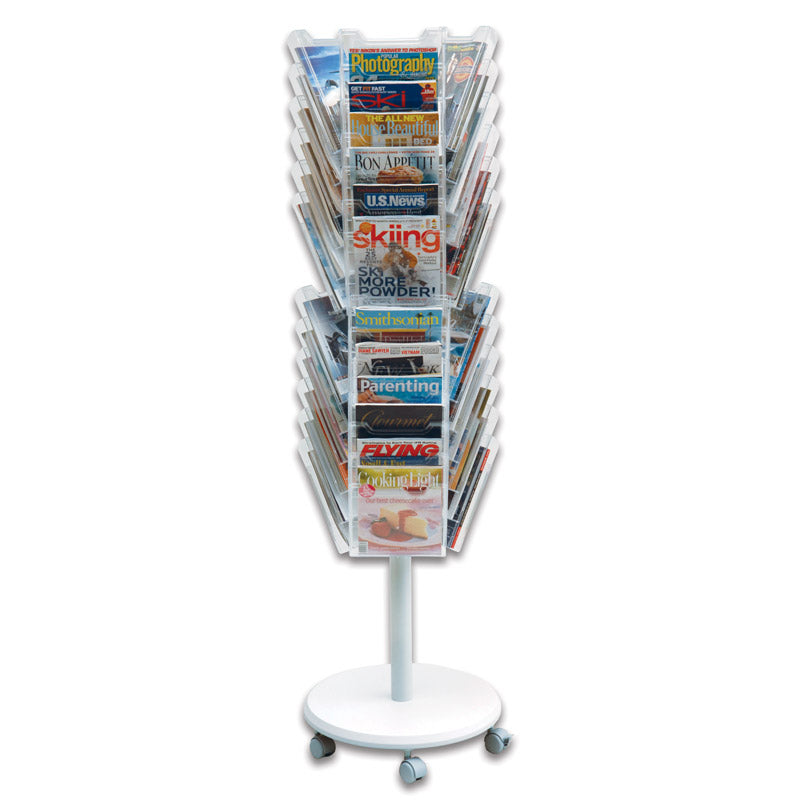 36-Pocket Mobile Revolving Literature Display PLUS+ Label Holder (pack of 8), Clear