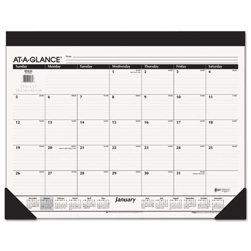 "Monthly Refillable Desk Pad, 22"" X 17"", White, 2019"