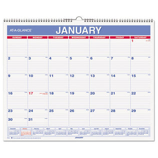 "Monthly Wall Calendar, 15"" X 12"", Red/Blue, 2021"
