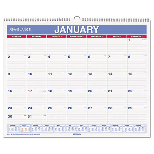 "Monthly Wall Calendar, 15"" X 12"", Red/Blue, 2020"
