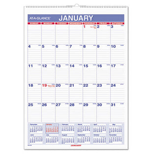 Monthly Wall Calendar with Ruled Daily Blocks, White, 2021