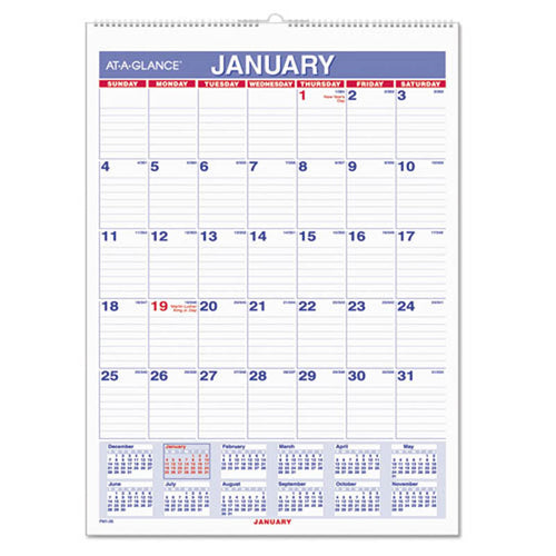 Monthly Wall Calendar with Ruled Daily Blocks, White, 2020