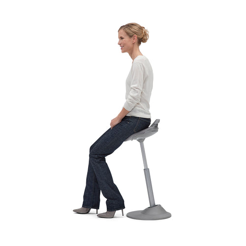 MUVMAN Multi-Dimensional Sit-to-Stand Stool with Microfiber Seat