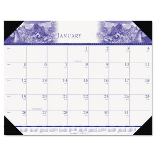 "One-Color Photo Monthly Desk Pad Calendar, 22"" X 17"", 2021"