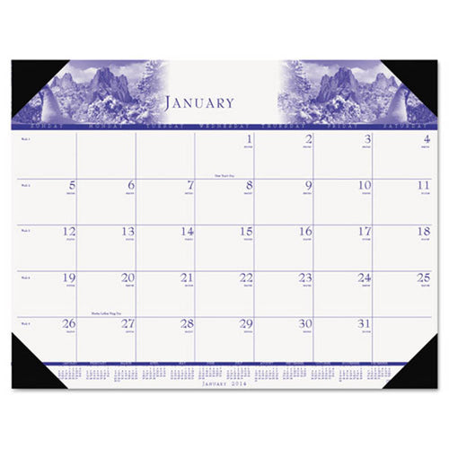 "One-Color Photo Monthly Desk Pad Calendar, 22"" X 17"", 2019"