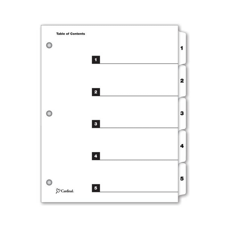 OneStep Printable Table of Contents Dividers w/ Tabs, 1-5, Letter