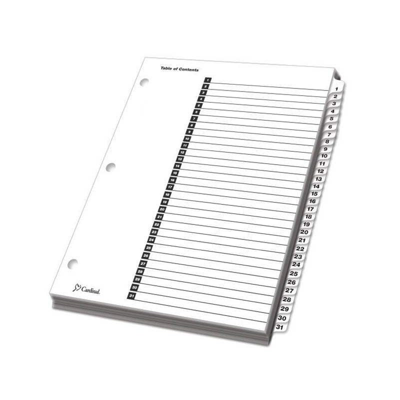 photo about Printable Dividers named OneStep Printable Desk of Contents Dividers w/ Tabs, 1-31, Letter (fixed of 31)