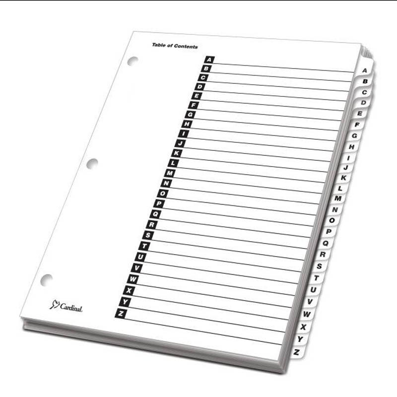 image relating to Printable Table called OneStep Printable Desk of Contents Dividers w/ Tabs, A-Z, Letter