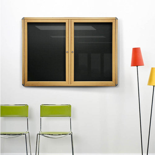 "Ovation 47"" x 34"" 2-Door Enclosed Bulletin Board"