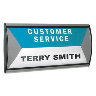 "People Pointer Aluminum Wall/Door Sign, 8 3/4"" x 4"", Black w/ Silver"