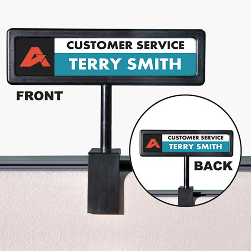 "People Pointer Plastic Cubicle Sign, 9"" x 2 1/2"", Black"