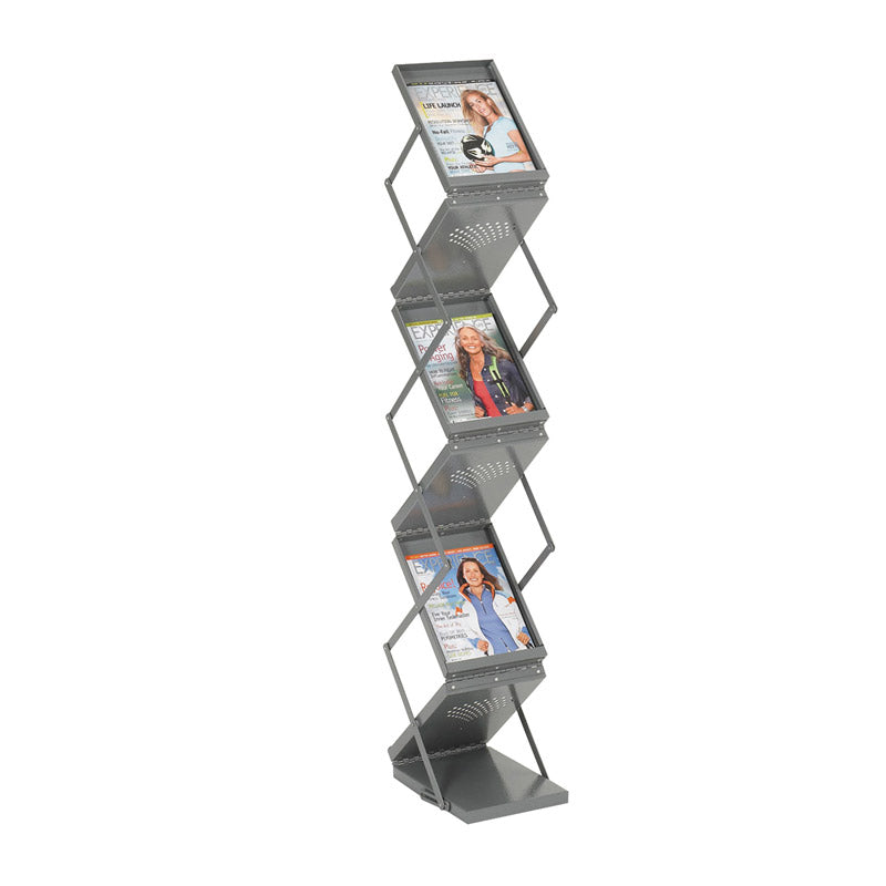 6-Pocket Double-Sided Folding Literature Display, Gray