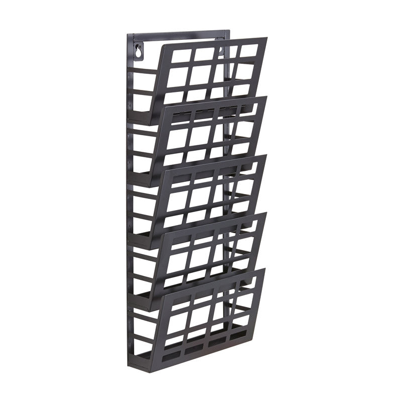 5-Pocket Steel Grid Wall Display, Black