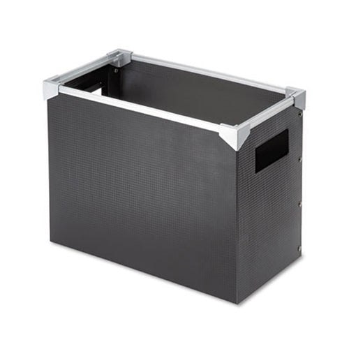 "Poly Desktop File Box, 13""w x 6 1/4""d x 9 1/2""h, Letter, Black w/ Silver"