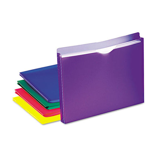 "Poly Legal Size Expanding File Jackets, 1"" Expansion, Assorted, Pack of 5"