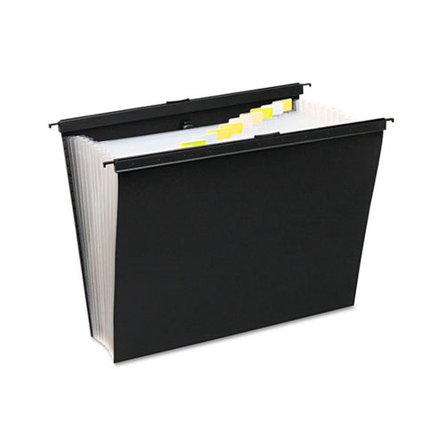 "Poly Slide-Bar Expanding Pocket File, 13 Pockets, 15"" Expansion, Letter, Black"