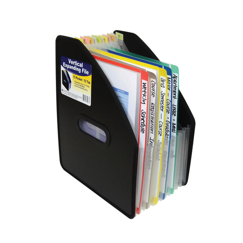"Poly Vertical Expanding File, 13-Pocket, 10"" Expansion, Letter, Black"
