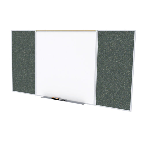 Porcelain Magnetic Whiteboard/Recycled Rubber Bulletin Board Combo, Aluminum