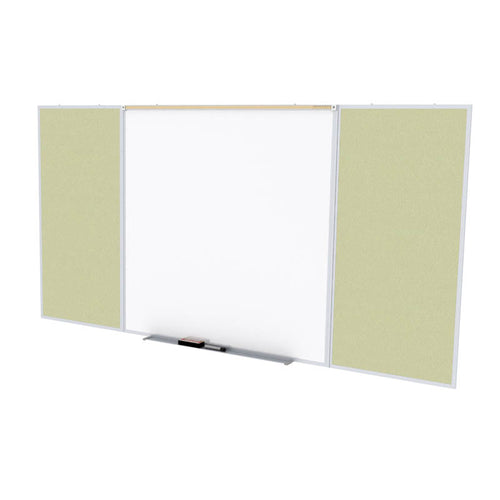 Porcelain Magnetic Whiteboard/Vinyl Fabric Bulletin Board Combo, Aluminum