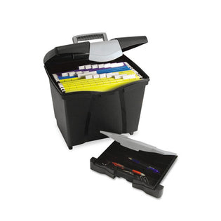 "Portable File Box w/ Organizer Lid, 14 1/2""w x 10 1/2""d x 12""h, Letter/Legal"