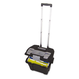 "Premium File Cart w/ Telescoping Handle, 16 3/8""w x 17""d x 15""h, Black w/ Silver"