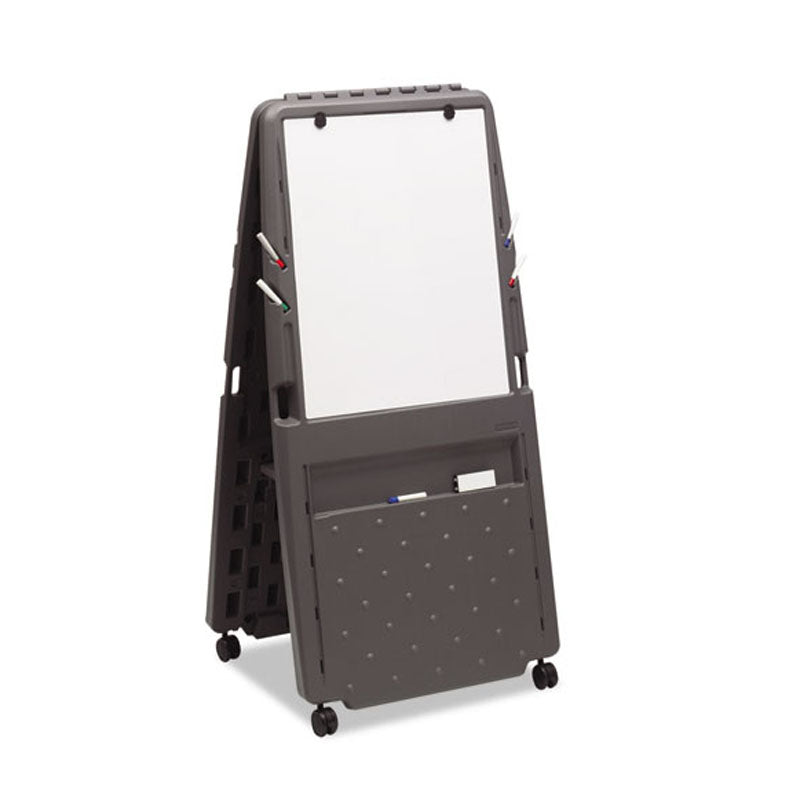 "Presentation Flipchart Easel w/ Dry-Erase Surface, 33""w x 28""d x 73""h, Charcoal"