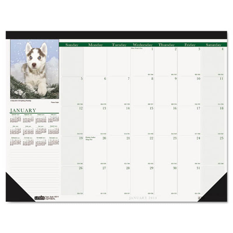 Puppies Photographic Monthly Desk Pad Calendar, 2019