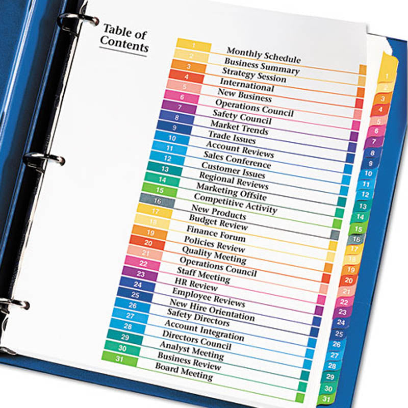 Ready Index Table of Contents Dividers, 1-31, Letter (set of 31)