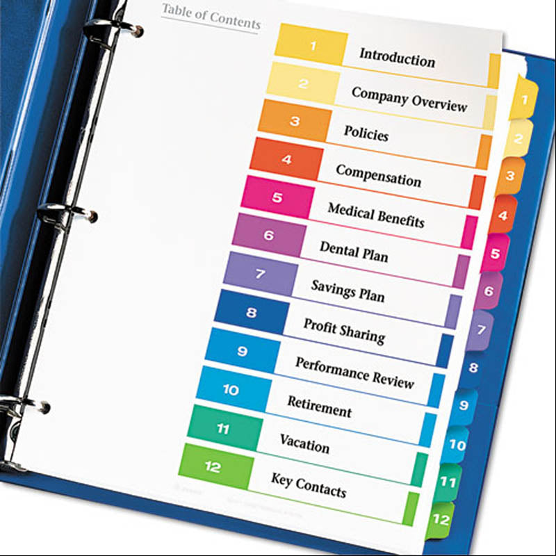 photo about Printable Index Tabs named Organized Index Desk of Contents Dividers w/ Multicolor Tabs, 1-12, Letter