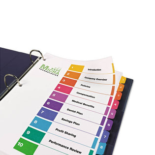 Ready Index Table of Contents Dividers w/ Multicolor Tabs, 1-10, Letter