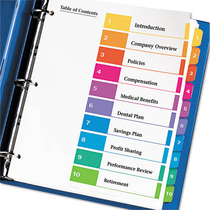 ready index table of contents dividers w tabs 1 10 ultimate office