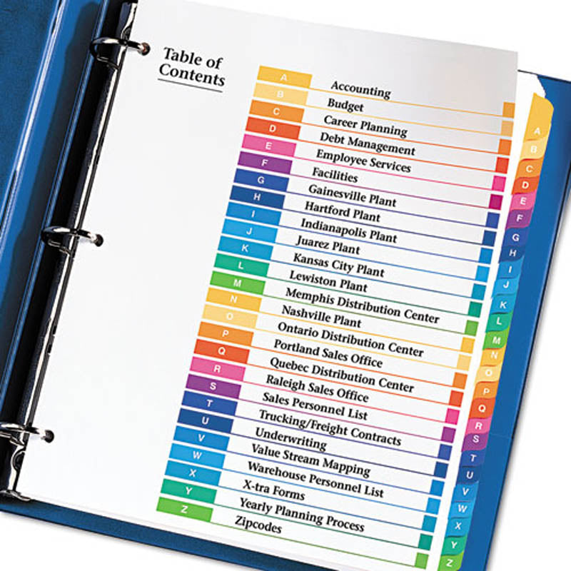 Ready Index Table of Contents Dividers w/ Multicolor Tabs, A-Z, Letter