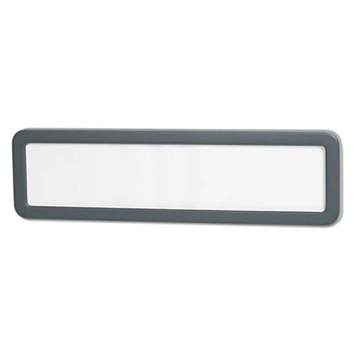 "Recycled Plastic Cubicle Nameplate, 9 1/8"" x 2 1/4"", Charcoal"