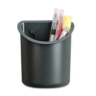 "Recycled Plastic Cubicle Pencil Cup, 4 1/4"" x 2 1/2"" x 5"", Charcoal"
