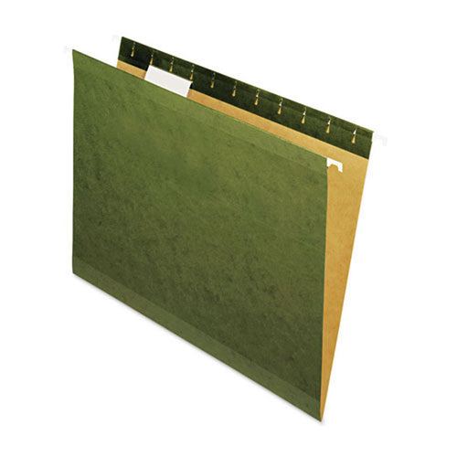 Reinforced Recycled Hanging File Folders (box of 25), Standard Green